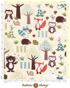 WOODLAND ANIMALS Raccoon Owl Fox on Beige Cotton Fabric By the Yard in Fabric   eBay