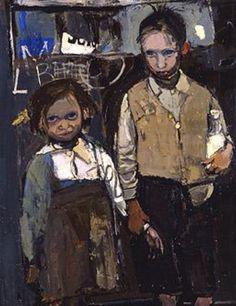 Brother and Sister by Joan Kathleen Harding Eardley Date painted: 1955 Oil on canvas, x cm Collection: Aberdeen Art Gallery Museums Portrait Art, Portraits, Portrait Paintings, Aberdeen Art Gallery, Glasgow School Of Art, Art Uk, Art Plastique, Your Paintings, Figure Painting