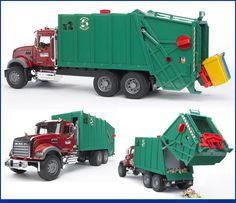 Bruder Mack Granite Garbage Truck (Ruby Red-Green)