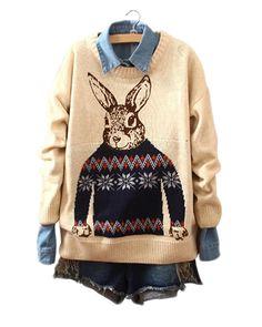 Monsieur Rabbit Print Round Neck Beige Sweater ST0230041-1