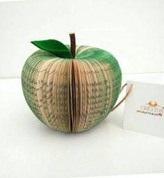 Book Art Apple - Paper Fruit - 3D Apple - 3D Sculpture -  handmade from books hanging - Green Apple - Apple - 3d paper - Gift for teacher by CreatonCrafts on Etsy https://www.etsy.com/listing/223474085/book-art-apple-paper-fruit-3d-apple-3d