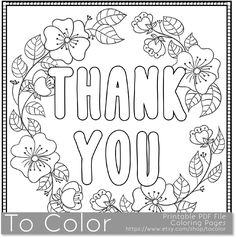 Thank You Coloring Page For Grown Ups This Is A Printable PDF Pages
