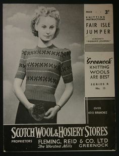 VINTAGE KNITTING PATTERNS Greenock Scotch Wool 1930s 1950s 1960s Selection