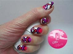 Neon Pink and Purple Nails #manails #abstract #brightmani #nailart - Go to bellashoot.com or #beautyapp for beauty inspiration!