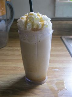 McDonald's famous Caramel Frappe!    Ingredients:  1/2 cup coffee  3/4 cup milk  4 cups of ICE  caramel  whip topping in can  2 tbsp plus 1 1/2 tsp Maxell House International Latte Vanilla Caramel powder    Directions:  Put powder, 2 tbsp of caramel, ice, coffee, and milk in the blender and blend well.  Put 2 tbsp of caramel in bottom of cup and pour half of the frappe mixture into cup and mix with spoon. Fill cup rest away, add whip topping, and drizzle caramel on top. Last but not least…