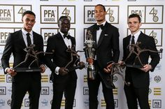 Van Dijk poses with Liverpool team-mates in the team of the year Trent Alexander-Arnold, Sadio Mane and Andy Robertson Liverpool Bird, Liverpool Stadium, Camisa Liverpool, Liverpool Vs Manchester United, Gerrard Liverpool, Anfield Liverpool, Liverpool Champions League, Liverpool Players, Soccer