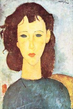 art indépendant ₪  amadeo modigliani (livourne I884 † paris I920) portrait peinture huile oil painting modern / jeune fille youg girl figurative palette bleu blue