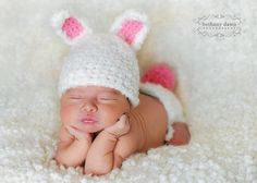 Bunny hat  and diaper cover with tail Newborn Only perfect for photo prop girl or boy  FREE SHIPPING. $55.00, via Etsy.