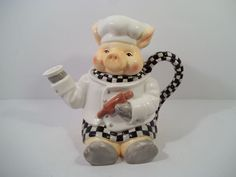 CHEF PIG TEAPOT by YOUNG'S HEARTFELT KITCHEN CREATIONS - Dated 1999