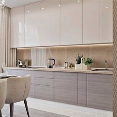modern kitchen design, contemporary design with modern kitchen cabinets and white marble quartz counter, kitchen island with modern kitchen lighting, modern barstools in neutral modern kitchen, minimalist kitchen with gray cabinets Modern Kitchen Interiors, Luxury Kitchen Design, Kitchen Room Design, Modern Kitchen Cabinets, Kitchen Cabinet Design, Luxury Kitchens, Home Decor Kitchen, Interior Design Kitchen, Home Kitchens