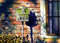 """""""Cheep"""" Original watercolor ACEO - 2.5x3.5"""". © Jillian Crider Birdhouse in Garden (Jacksonville, OR)"""