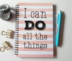 Writing journal, spiral notebook, sketchbook, bullet journal, pink stripes, blank lined or grid paper, to do list - I can do all the things