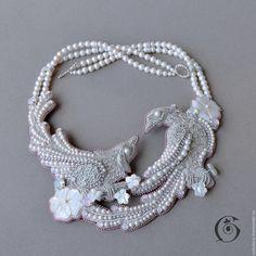 Купить Plaisir D'Amour - белый, розовый, серебристый, комплект, колье, кольцо, браслет, серьги, птицы