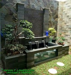 √ specially impressive design ideas from beautiful outdoor and interior partitions 13 Indoor Pond, Indoor Water Fountains, Indoor Fountain, Small Fountains, Indoor Gardening, Indoor Plants, Fish Ponds Backyard, Backyard Water Feature, Backyard Landscaping