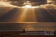 Jerry Cowart - Inspirational Sun Rays Over Calm Ocean Clouds Bible Verse Photograph