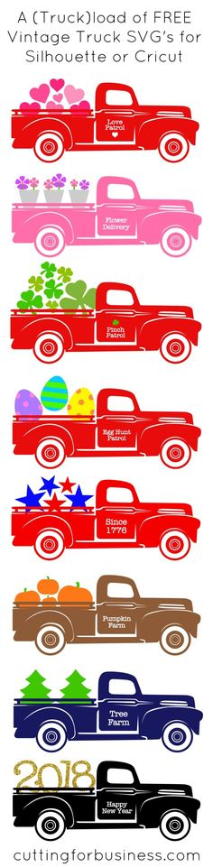 A Truckload of FREE Vintage Truck SVG Cut Files for Silhouette Cameo, Curio, Mint, Cricut Explore. By cuttingforbusiness.com.