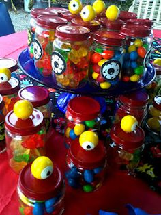 Little monster party favor candy jars using baby food jars