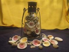 Oil Lamp with Seashells Centerpiece Oil Lamp Centerpiece, Seashell Centerpieces, Shell Lamp, Mermaid Parties, Oil Lamps, Seashells, Lava Lamp, Lanterns, Nautical