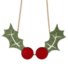 Holly Statement Necklace, Glitter Green - Inject a flash of fun to your festive look with the Holly Statement Necklace. Laser cut in glittering green acrylic, oversized sprigs of holly are finished with giant glossy berry coloured cabochons. Add this to your seasonal selection and you're sure to raise a smile > http://www.tattydevine.com/holly-statement-necklace-glitter-green