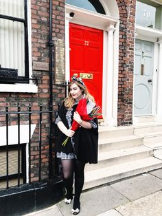 Julia Rachel Day - A UK Fashion & Style Blog   outfit post, gingham smock dress, red lipstick, bow ballet flats, black cape