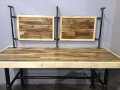 Work bench for bike shop with tool rack.