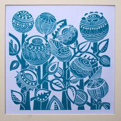 Turquoise Garden Lino Print