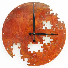 Puzzle Wall Clock V Extra Large Rusted by All15Designs on Etsy
