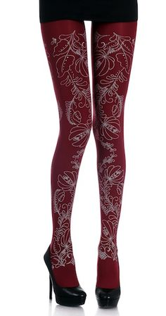 Flowers Print Tights Burgundy & Grey. Upgrade your wardrobe with Zohara designer footless tights, these trendy Flowers Print Tights Burgundy and Grey are a great way to keep your look trendy, fun and unique on the same time, $29.95 http://www.trendylegs.com/shop/flowers-print-tights-burgundy-grey/