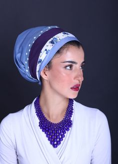 Blue turban style head covering on ModLi.co➕More Pins Like This At FOSTERGINGER @ Pinterest✖️