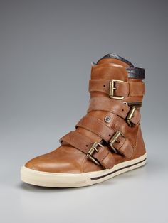 Leather Buckle Strap High Tops by Just Cavalli at Gilt