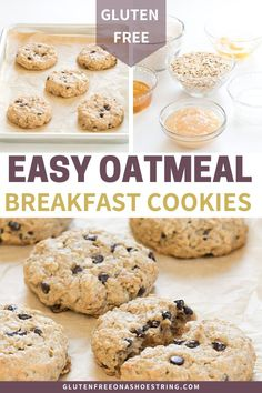 These healthy oatmeal cookies are easy to make and perfect for kids on busy school mornings! What kid would turn down a cookie for breakfast? This recipe is gluten free and simple to make ahead and store for the upcoming week of busy schedules! Cookies Sans Gluten, Dessert Sans Gluten, Bon Dessert, Gluten Free Sweets, Gluten Free Baking, Gluten Free Flour, Oatmeal Breakfast Cookies, Healthy Oatmeal Cookies, Gluten Free Oatmeal