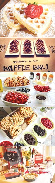 25 Fun Dessert Bar Alternatives That Will Get your Guests Involved - Waffle Bar! Great for a bridal shower brunch Birthday Brunch, Easter Brunch, Sunday Brunch, Easter Dinner, Birthday Parties, Birthday Breakfast, Waffles, Bar A Bonbon, Waffle Bar
