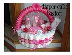 Cute Diaper Cake/Basket  fill it with your gifts for the mommy-to-be. Great Baby Shower Gift