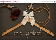 ON SALE Personalized Custom Bridal Hanger by whiskeynweddingbells, $13.99