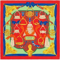 « Etriers », Carré 70x70 cm en soie vintage. Dessin : Françoise de la Perrière. Jouez avec votre carré Hermès grâce à l'application Silk Knots ! hermes.com/silkknots #Hermes #Silk #SilkKnots