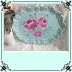 Hey, I found this really awesome Etsy listing at https://www.etsy.com/listing/196621910/large-aqua-servingvanity-tray-hand
