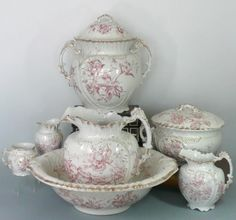 Grindley England 9 Piece Pitcher Bowl Set Peony Pattern 1894 - For sale on Ruby Lane, I would love to add this to my collection! Red Cottage, Shabby Chic Cottage, Vintage Dishes, Vintage Tea, Romantic Shabby Chic, Antique Pictures, China Tea Sets, Vintage Chandelier, China Patterns