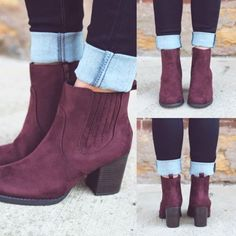 maroon ankle boots- How to wear ankle booties http://www.justtrendygirls.com/how-to-wear-ankle-booties/
