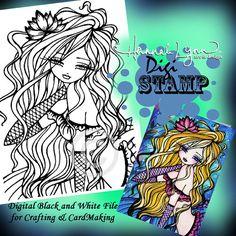 PRINTABLE Digi Stamp Corrinne Flower Mermaid Coloring Page Fun Fantasy Art Hannah Lynn