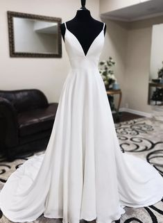 White v neck long prom dress with lace