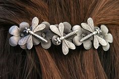 3 Dragonflies & Flowers Barrette