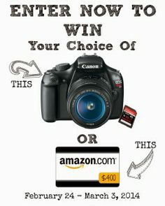 Canon Rebel T3 or $400 Amazon GC #Giveaway