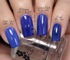 Sinful Colors Endless Blue vs. KBShimmer Low & Be Bold vs. Elevation Polish Pic de Sotllo vs. L'Oreal Miss Pixie