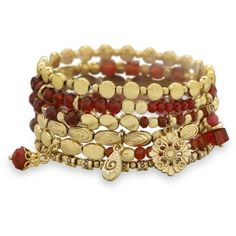Set of 6 Gold Tone Multicharm Fashion Stretch Bracelets with Red Beads (€28) ❤ liked on Polyvore featuring jewelry, bracelets, accessories, cut out jewelry, floral jewelry, red jewelry, gold tone jewelry and beaded bangles
