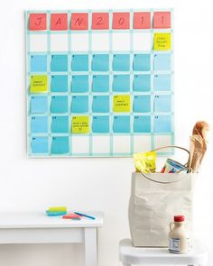 If you've got a constantly shifting schedule, this Stickie Note Calendar may be just the thing to keep your family organized. Created by the editors at Martha Stewart Living, the calendar simply uses Post-it notes and washi tape, so it can be easily modified as plans change. Source: Photo by Raymond Hom. Copyright 2012. Originally published in the January 2011 issue of Martha Stewart Living magazine