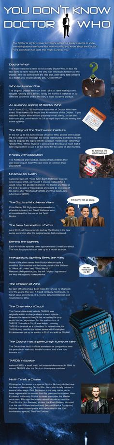 Dr Who Trivia-  i love the one about torchwood!:D    ~the last fact is wrong, the 9th doctor is not the only one who didn't meet the master. The 11th doctor has yet to meet the master because he died during the 10th doctor's last episode but this was probably made before Matt Smith came on the show.