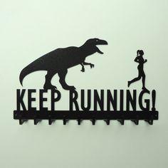 Keep running t-rex and running man medal hanger Running T Rex, Keep Running, Running Tips, Trail Running, Fitness Workouts, Fitness Motivation, Jogging, Marathon, Medal Rack