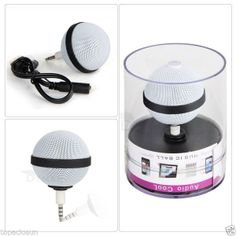 Altavoz Mini Amplificador Bola Ball Minijack 3.5mm Bateria Recargable USB NEGRO