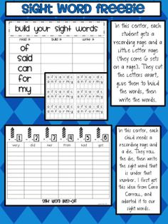 You can get the sight word centers here {for free!}. Please let me know if you are able to use these! They go along with the 100 most common...