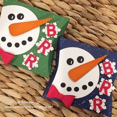 A few snowmen ⛄️ #pillowbox #punchart www.bonniestamp.stampinup.net